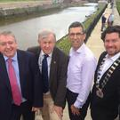 Cllr Joe Behan, Cllr Brendan Thornhill, engineer Marc Devereux and Cathaoirleach of Bray Municipal District Cllr Steven Matthews at the opening of the new walkway along the Dargle