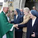 Sisters Columbanus, Theresa and Redempta greeting Archbishop Diarmuid Martin