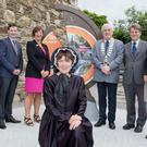 Des Murnane of Wicklow County Council, Ruarí Dean of Bord Fáilte, Jenny Salter of Bord Fáilte, county council cathaoirleach Pat Fitzgerald, Des O'Brien of Wicklow County Council, Deirde Burns of Wicklow County Council and, in front, Mary Morris of Wicklow Gaol at the launch of Ireland's Ancient East at Wicklow Gaol