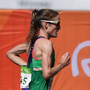 Fionnuala McCormack on her way to 20th place and a personal best time in the Women's Marathon on Sunday