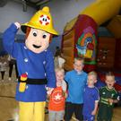 Thomas Sherlock, Wayne Moorehouse, Ryan Moran and Tadhg Cox with Fireman Sam