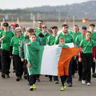 The Ireland team finish off the parade during the opening ceremony on Bray Seafront