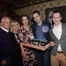 Minister Simon Harris celebrates his 30th Birthday in the Harbour Bar: Simon with his parents Bart and Mary Harris, his fiancee Caoimhe Wade, brother Adam and sister Gemma