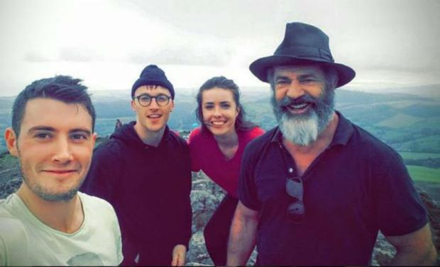 Mel Gibson with Heather Fogarty, Michael O'Connor and Shane Gallagher on Sugarloaf