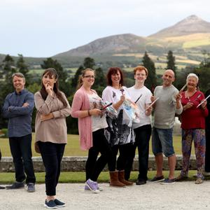 Painting the Nation judges Gabhann Dunne and Una Sealy, presenter Pauline McLynn and the show's seven finalists at Powerscourt.