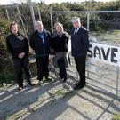 MEP Nessa Childers visiting The Rocks site at Priestnewtown last week with Stephen Kelly, Brendan Smyth, and Cllr Tom Fortune