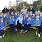 Greystones Men's Shed present to benches to St Patrick's School: Mr Mac (Fergal Mac Grianna) and his 3rd class with Joe O'Gorman, Jim Rice, Fergal O'Farrell and Brendan Bell