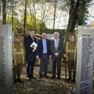 Minister of Health Simon Harris TD, Jerry O'Brien, Woodenbridge Development Association, and Chairman Wicklow Co Council, Cllr Pat Fitzgerald, at the Wicklow Great War Dead 1914-1916 commemoration at the Wicklow WWI memorial garden, Woodenbridge