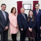 Principal Brian O'Doherty; Chair of the Parents Association, Louise Lyons; Chair of the Board, Robert Dunne; Chair of the Student Council, Amy Brien; Minister Simon Harris; and Sr Elizabeth Cotter, representing the Provincial Council of the Loreto Order, at the opening of the Sr Eileen Randles building at St Patrick's NS, Bray