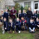 St Fergals National School 4th, 5th and 6th class students with Principal Tom Sargent, Caretaker Joe Carroll and Grace Garde from Hertiage in Schools Wicklow