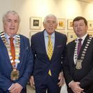 Ronnie Delany with Cllr Pat Fitzgerald, cathaoirleach of Wicklow County Council, and Cllr Pat Kennedy, cathaoirleach of Arklow Municipal District, at the civic reception to mark the 60th anniversary of his gold medal at the 1956 Olympic Games in Melbourne