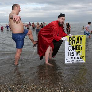 John Duggan and Bishop Brennan (Adam Burke from Bray Comedy Festival) recreating an iconic Father Ted scene at the rescheduled Bray new year swim