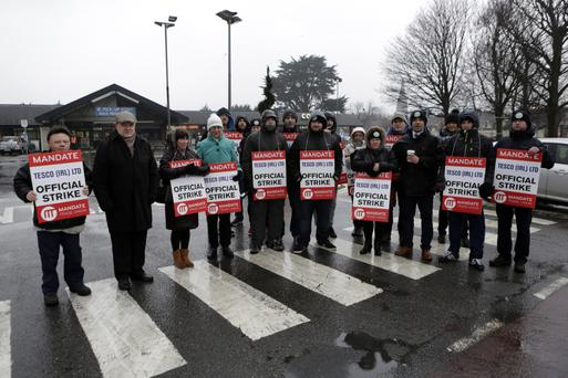 Tesco workers on strike outside the Vevay Road store in Bray on Tuesday