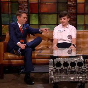 Cillian Scott of Colaiste Cill Mhantain chatting to Ryan Tubridy on The Late Late Show