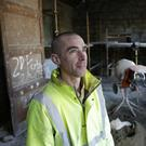 Dave O'Brien working on the band hall in Rathnew