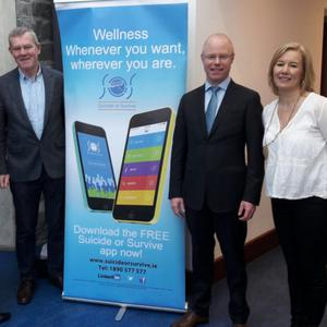 Beverly Webster, Cllr Gerry Walsh, Stephen Donnelly TD and Caroline McGuigan, CEO of Suicide or Survive