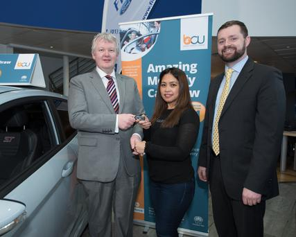 Malachai Duddy, President of Bray Credit Union, Zenaida Bontoyan, winner and John O'Brien, Fitzpatrick Motors