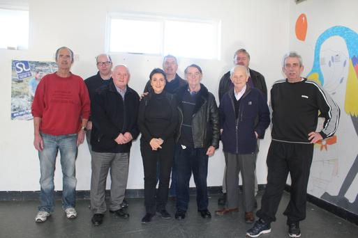 Tutor Finola Brady with members of Greystones Men's Shed