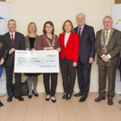 Myra Porter, Cllrs Tom Fortune and Nicola Lawless, Bryan Doyle, Chief Executive of Wicklow County Council, Cllrs Grainne McLoughlin and Jennifer Whitmore, Evanne Cahill and Sean Dorgan from Wicklow Hospice, county cathaoirleach Pat Fitzgerald, and Cllrs Derek Mitchell and Gerry Walsh at the presentation of €10,000 from Greystones Municipal District to Wicklow Hospice Foundation