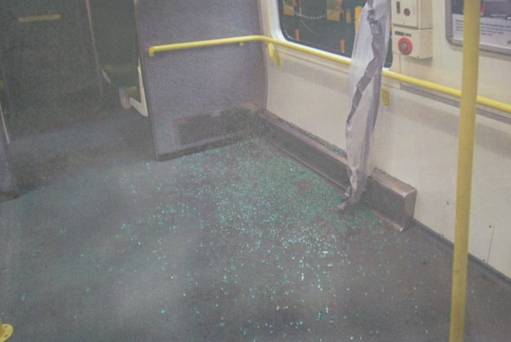 Smashed glass in one of the carriages after the incident on November 20, 2014