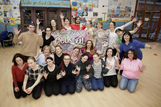 The cast of Bray Musical Society's 'Godspell' in rehearsal for their run in the Mermaid Arts Centre