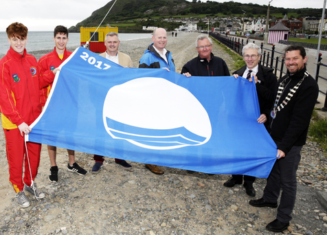 Lifeguards Jack Dunne and Ian Bailey, town clerk David Forde, executive engineer Stephen Fox, town foreman Tom Bailey, district engineer Liam Bourke, and Bray Municipal District Cathaoirleach Cllr Stephen Matthews