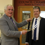 Cllr Pat Fitzgerald hands over the chain of office to new Cathaoirleach of Wicklow County Council, Cllr Edward Timmins