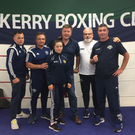 Daina Moorehouse with some of the club coaches and Donal Egan