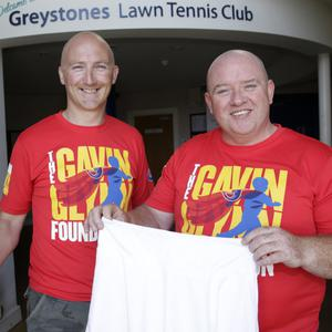 Chris with John Glynn from the Gavin Glynn Foundation and the famous skirt, which will be auctioned off to raise money for the foundation