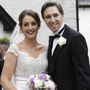Newlyweds Caoimhe Wade and Simon Harris outside Kilquade Church last Friday