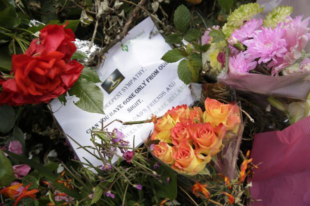 Flowers placed on the Shanganagh Road in Shankill, near the entrance to Hazelwood, where Cian Marren was knocked down