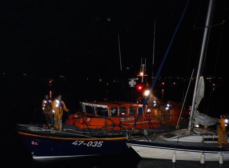 Wicklow lifeboat crew during the rescue of two sailors on Monday
