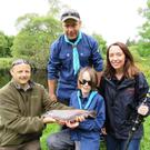 Oisin Cahill of the Dublin Angling Initiative with Shane Brady (13) from Roundwood Scouts, Sinead Hurson and leader Weslie from Roundwood Scouts