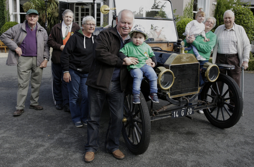 Pat Carey, Willy Carrick, Charlotte Carolan, Mick Nolan, Dylan Mulligan, Kyra Kennedy Kavanagh and Jack Healy get ready to welcome participants in the Garden of Ireland Vintage Car Club Liam Kelly Memorial Run this weekend