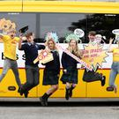 Coláis te Chraobh Abhann students join Bray TV and radio presenter Blathnaid Treacy and her colleague Stephen Byrne to launch Bus Eireann's 'Go Places' competition