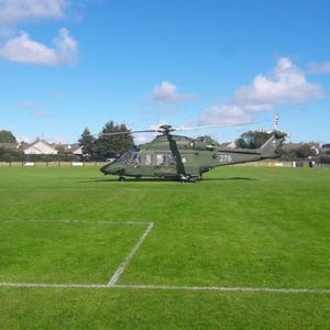 The air ambulance landing in Arklow on Sunday.