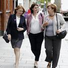 Social Democrat Cllr Jennifer Whitmore with party leaders Róisín Shorthall and Catherine Murphy on a walkabout in Bray last Friday.