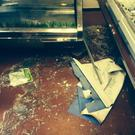 Damage to Farrelly's butchers.