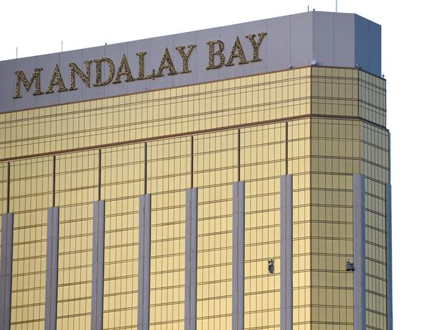 The Mandalay Bay hotel, with the smashed windows of the shooter's hotel room.