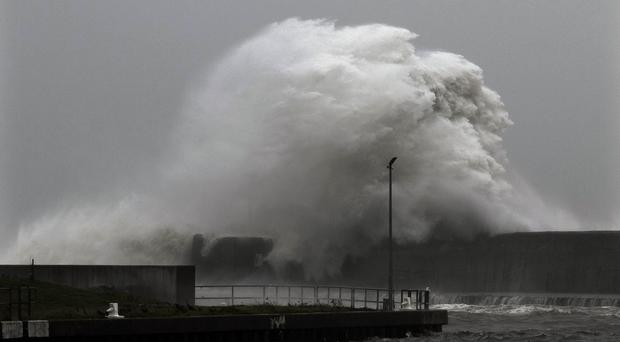 Large storm surges hit the South pier and beach during hurricane Ophelia in Arklow, Co Wicklow