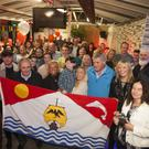 Peter and Eamon Kavanagh with family, friends and clubmates at the party to mark the 20th anniversary of their transatlantic row in the Old Ship on Saturday night.