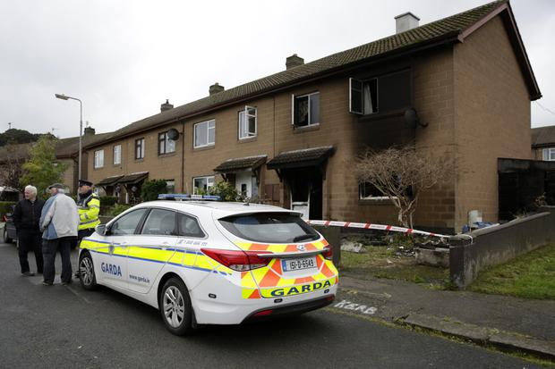 Emergency services at the scene of the fire in Kindlestown Park last Thursday morning.