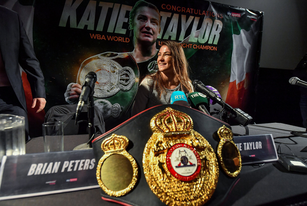 Katie at her press conference in Dublin on Monday.