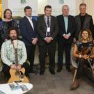 The Elders (Steve Phillips, Brent Hoad, Norman Dahlor, Ian Byrne, Diana Ladio and Kian Byrne) with Cllr Tommy Annesley, the cathaoirleach of Arklow Municipal District and members and staff at a civic reception at the municipal district office.