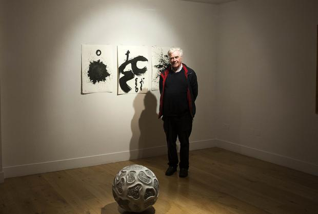 Fr Peter McVerry at the WH Five Loaves exhibition in the Mermaid Arts Centre