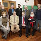 (Back,from left) Charlie Callan, Colm Kinsella, Emmet Connolly, John Kenna, Derek Casserly, Tony Robinson, (front) Rosemary Cullen Owen, council President George Sheehan, Jack O'Connor, Jack McGinley, President of the Irish Labour History Society.