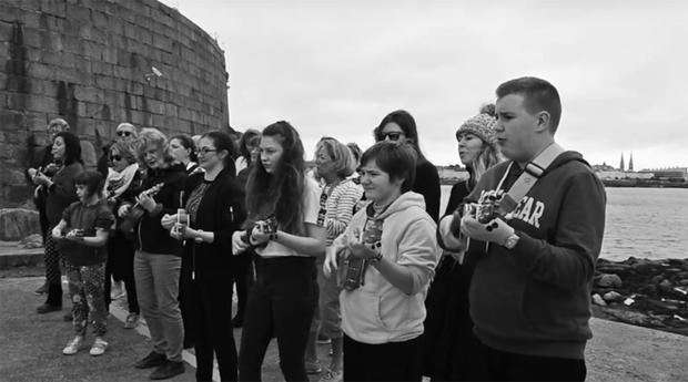 A still from the Harbour Ukuleles' YouTube video.