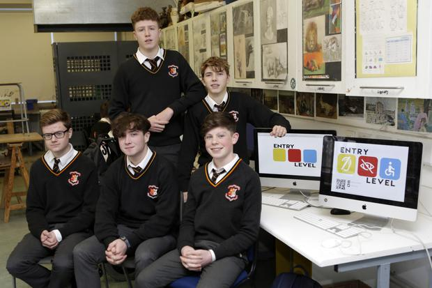 Conor Kelly, Lochlann Megannety and, front, Pearse O'Neill, Killian Taylor and Jack Lawlor, from company Entry Level at Presentation College Bray.