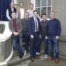 Minister Simon Harris and Phil Thompson of Tiglin with Carraig Eden residents Cian O'Shea, Christopher O'Reilly, Denis Ferry, John Mahon, Jonathan Golding and John Doyle