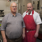 Dermot Moore of Moore's Family Butchers with Dick Murphy, who lives above the premises on Rathdrum's Main Street